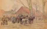 Bijzondere tekening paardenmarkt begin deze eeuw